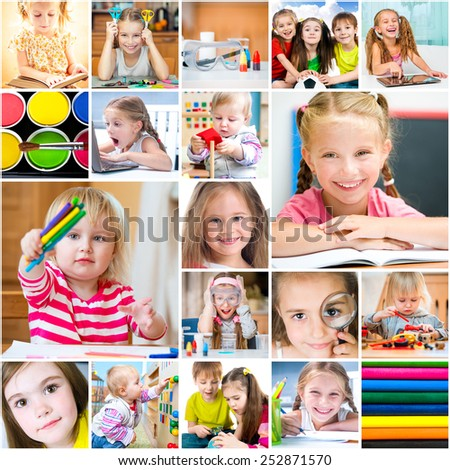 collage of photos about education and entertainment of children - stock photo