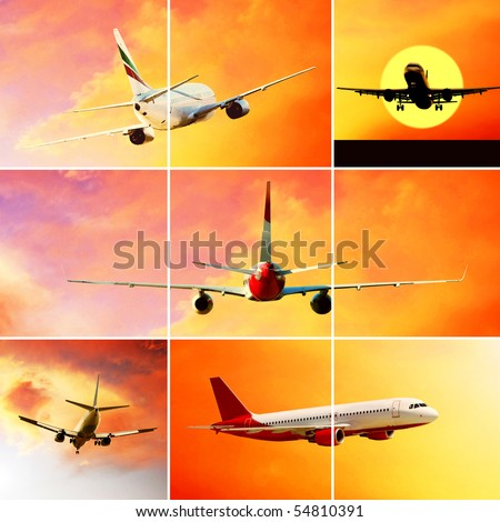 Collage of photos by airplanes at fly on the sky with clouds - stock photo