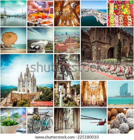Collage of photos from Barcelona. Spain - stock photo