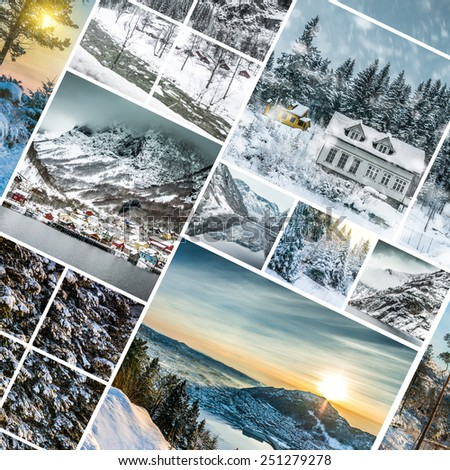 Collage of photos from Bergen, Norwegia - stock photo