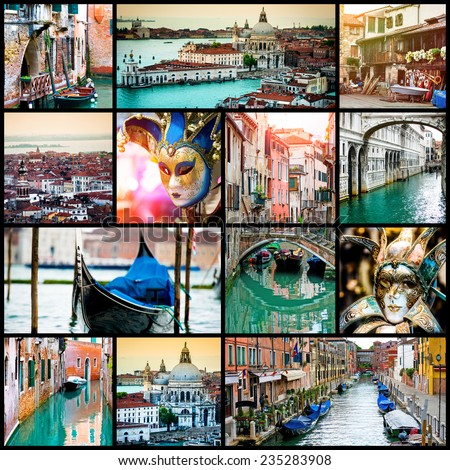 collage of photos from Venice - stock photo