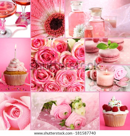 Collage of photos in pink colors - stock photo
