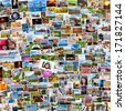 Collage of photos of a persons life in 1x1 ratio - stock photo