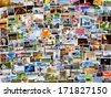 Collage of photos of a persons life in 4x3 ratio - stock photo