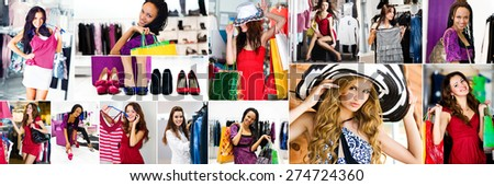 collage of photos of beautiful girls doing shopping clothes and shoes  - stock photo