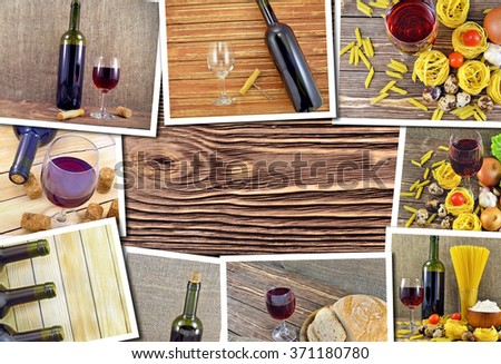 Collage of photos of bottles and glasses of red wine - stock photo
