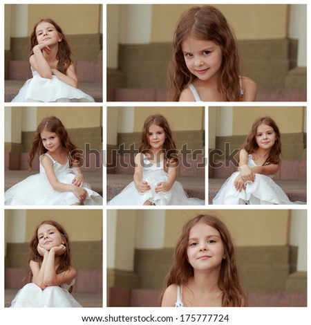 collage of photos of Charming young girl with long healthy hair in a beautiful white dress walking outdoors - stock photo
