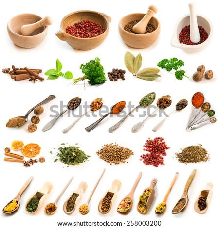 Collage of photos of different spices on spoons and dishes on a white background - stock photo