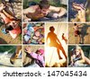 collage of photos of rock climbing and mountaineering - stock photo
