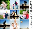 collage of photos of the family summer vacation - stock