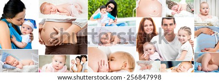 Collage of photos pregnancy, baby, kids, happy family - stock photo