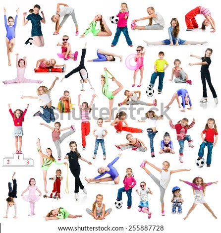 Collage of photos sports children on a white background - stock photo