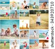 Collage of photos summer vacation with his family at sea and in the meadows - stock photo