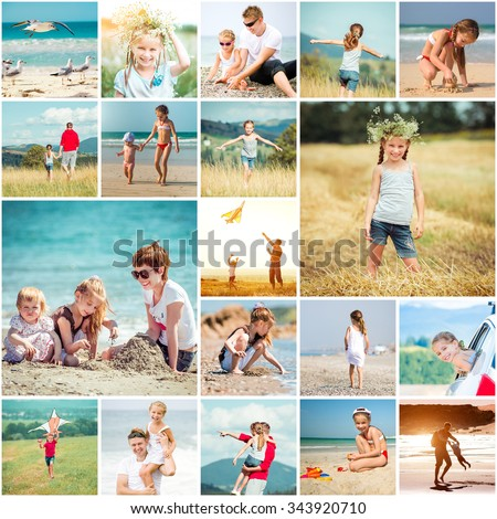 Collage of photos summer vacation with his family at sea and in the meadows