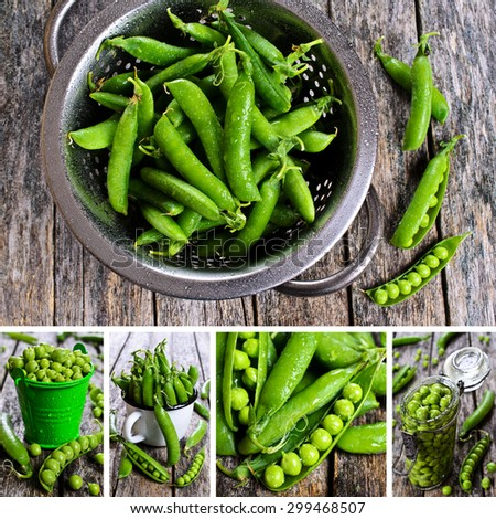 Collage of photos with a green, fresh and canned peas