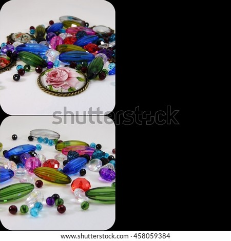 collage of photos with beads - stock photo