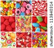 Collage of photos with different sweets - stock