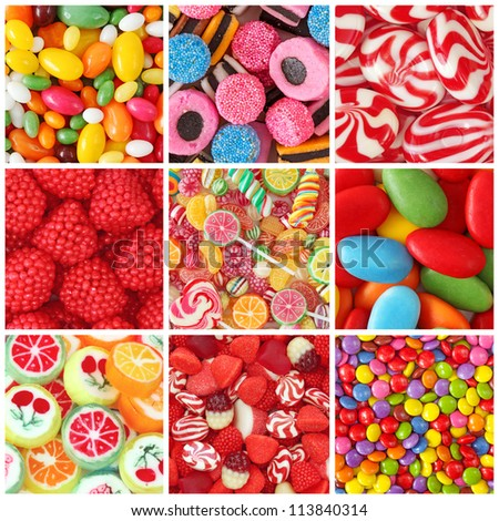 Collage of photos with different sweets - stock photo