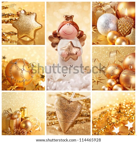 Collage of photos with golden christmas decoration - stock photo