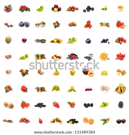 Collage of 64 pictures of different fruits on white background. - stock photo