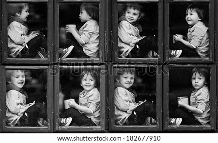 Collage of pictures of two brothers, sitting on a window, talking and laughing, drinking tea