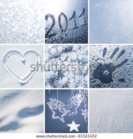 Collage of pictures on the theme of winter, snow and New Year