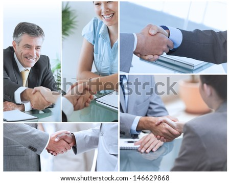 Collage of pictures showing business people shaking hands