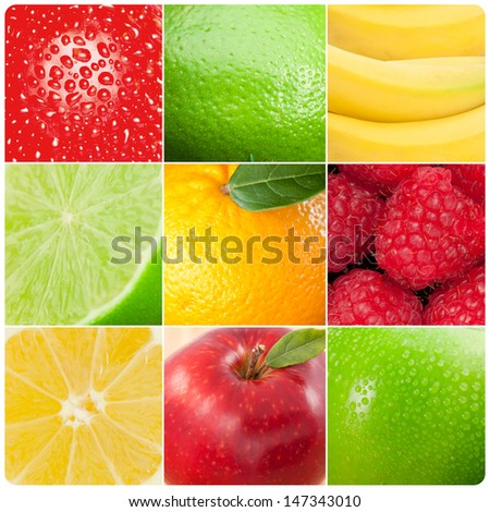 Collage of pictures showing various fruits - stock photo