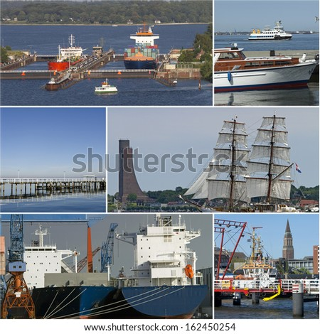 Collage of pictures with maritime motives from Kiel, Germany - stock photo