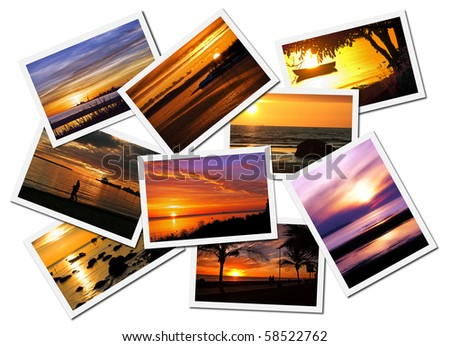 Collage of picturesque ocean sunset postcards isolated on white background - stock photo