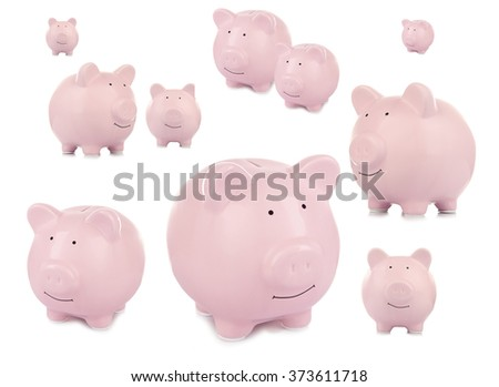 Collage of pink ceramic piggy banks isolated on white - stock photo