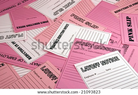 Collage of pink slips, layoff notices, etc. - stock photo