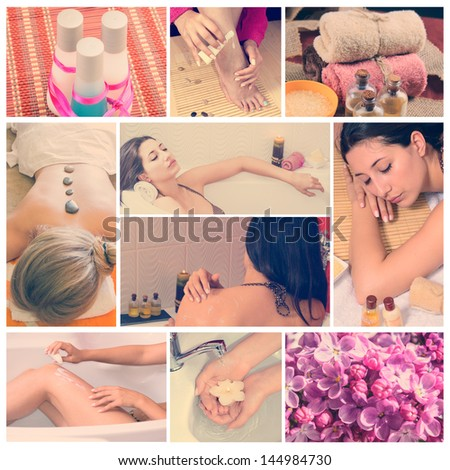 Collage of pink spa setting. Beautiful young women getting spa treatment - stock photo