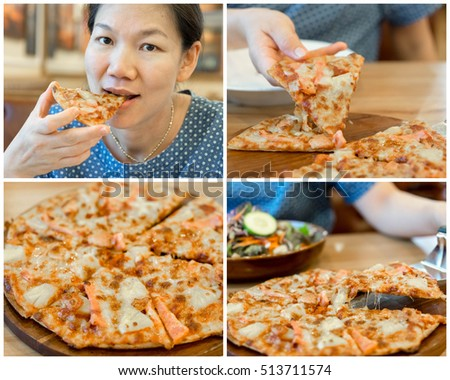 collage of pizza with women eating pizza