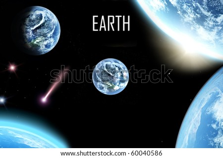 collage of planet earth pictures - stock photo