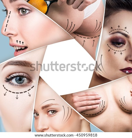 Collage of plastic surgery concept - stock photo