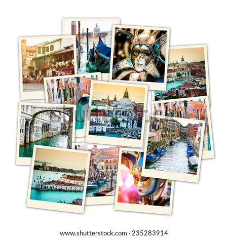 collage of polaroid photos from Venice - stock photo