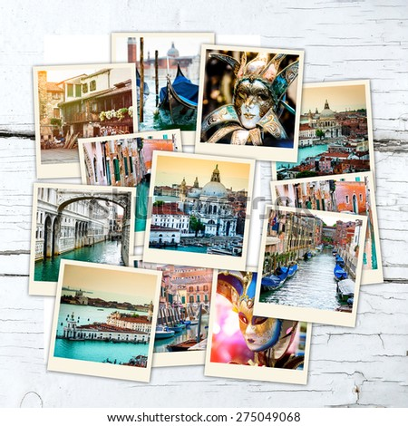collage of polaroid photos from Venice  on wooden table - stock photo