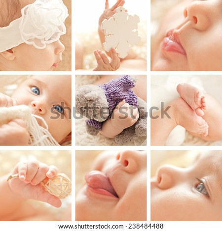 Collage of Portrait of small cute girl with blue eyes in her cozy white bed. - stock photo
