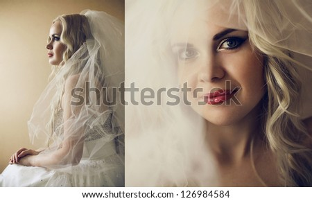 Collage of portraits of a beautiful blonde bride with long curly hair posing over wooden background. daylight. studio shot - stock photo
