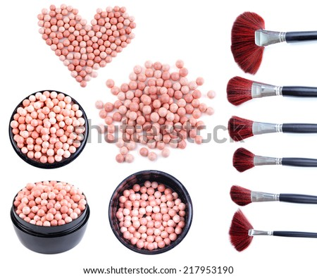 Collage of powder balls and make-up brushes isolated on white - stock photo