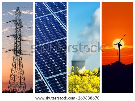 Collage of Power and energy concepts - stock photo
