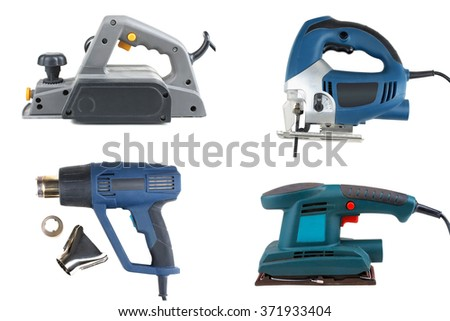 collage of power tools for home handyman use, isolated over white background - stock photo
