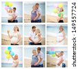 collage of pregnant  - stock photo