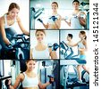 Collage of pretty girl and young guy training on sport facilities in gym - stock photo