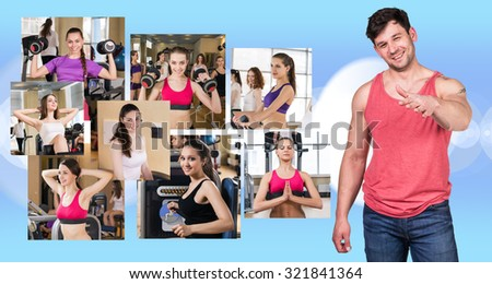 Collage of pretty girls and young guy over white background - stock photo