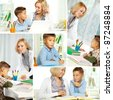 Collage of pretty tutor and diligent pupil doing schoolwork at home - stock photo