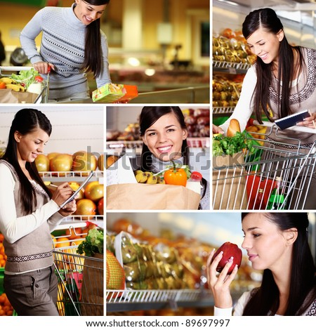 Collage of pretty woman choosing products in supermarket