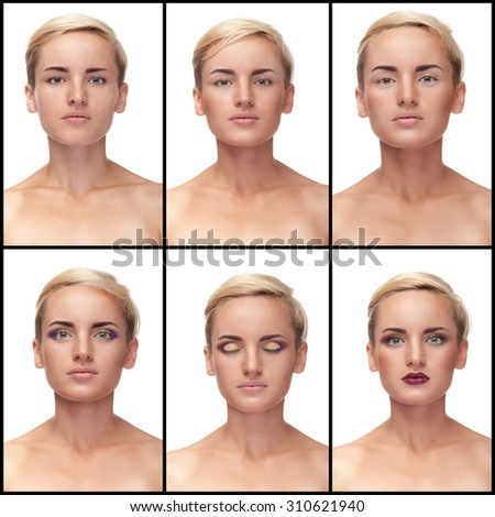 Collage of process to apply make up on woman. Studio shooting. Beautiful natural girl with perfect skin and make up. Make up process. Applying make up - stock photo