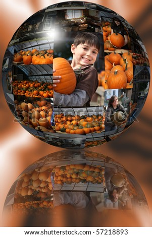 Collage of pumpkin patch images in 35 ball over abstract background. - stock photo
